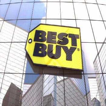 Ad: March 2018, Editorial use only, 3D animation, Best Buy Co., Inc. logo on gla...  Ad: March 2018