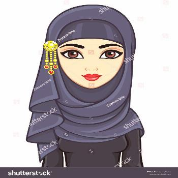 Animation portrait of beautiful young Arab woman in a hijab. The vector illustration isolated on a