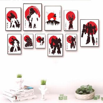 Battle of Titan Dragon Ball Z Japanese Anime Abstract Watercolor Canvas Art Painting Wall Picture f