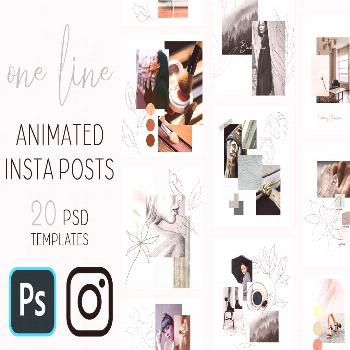 One line Animated Instagram Posts. This product contains 20 animated Instagram templates. These are