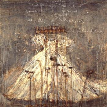 View Schechina (1999) By Anselm Kiefer; Oil, emulsion, acrylic, lead and aluminum wire cage on canv