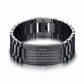 VNOX Personalized Engraved Love Quote Link Bracelet from