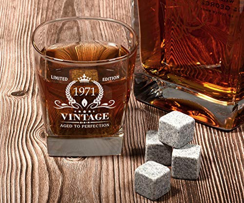 50th Birthday Gifts for Men, Vintage 1971 Whiskey Glass and