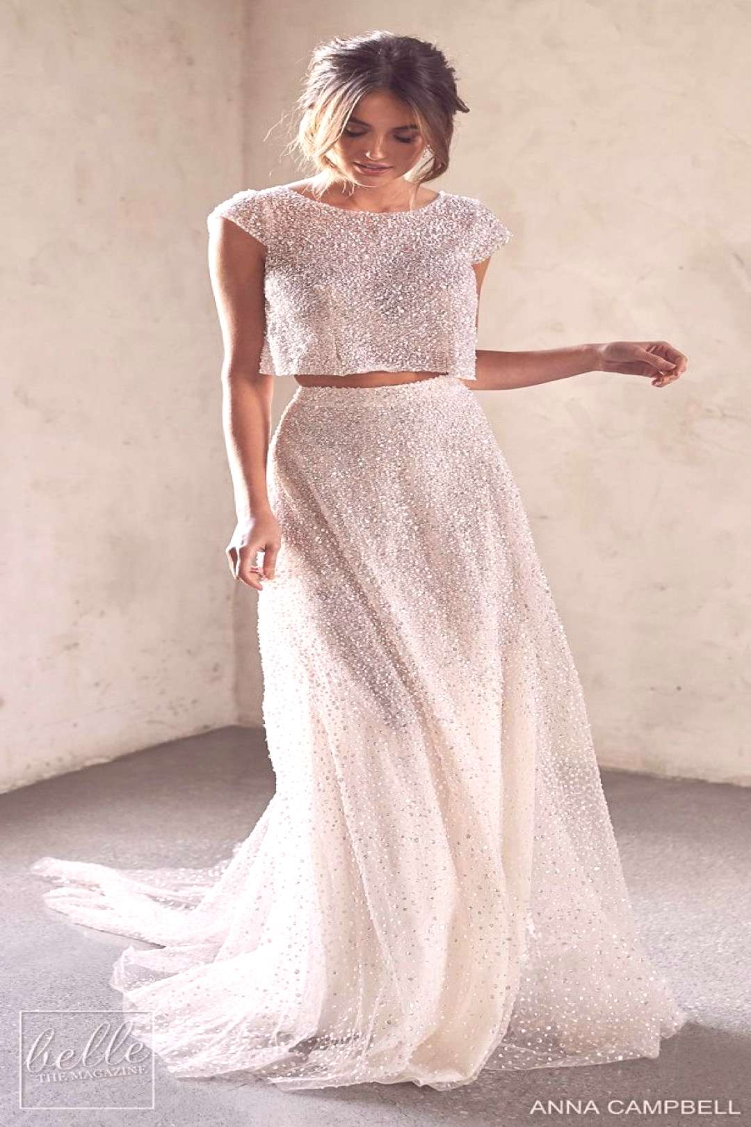 Anna Campbell 2020 Wedding Dress Lumiére Bridal Collection - Meadow Topper with Riley Separate Sk