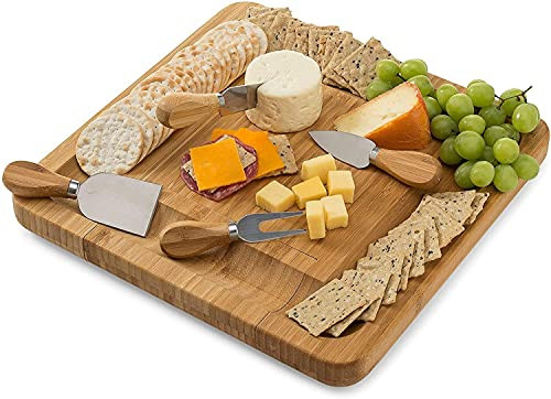 Bamboo Cheese Board Set With Cutlery In Slide-Out Drawer